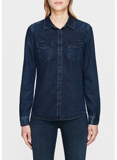 Mavi Jean Gömlek | Elize - Dar Kesim İndigo